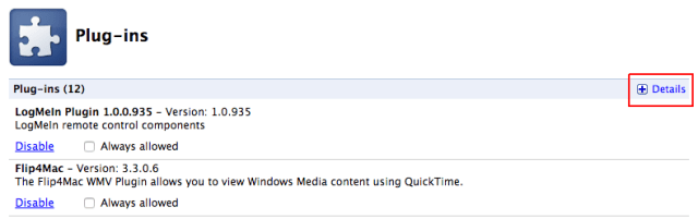 Chrome Plugins Detail