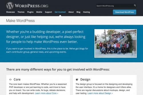 WordPress オープンソース開発のポータル、make.wordpress.org。