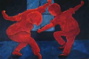 Dansers, olieverf 50 x 75 cm