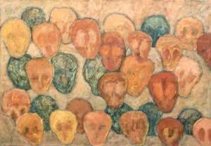 Invasie strand 1995, acryl 70 x 100 cm