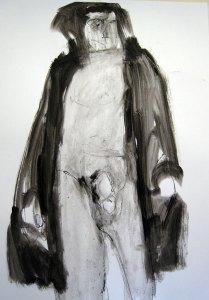 L'homme 2 - Oostindische inkt, 100 x 70 cm