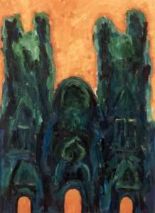 Ruïne, olieverf 37 x 50 cm