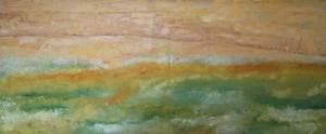 Zomerlandschap, olieverf 50x120cm