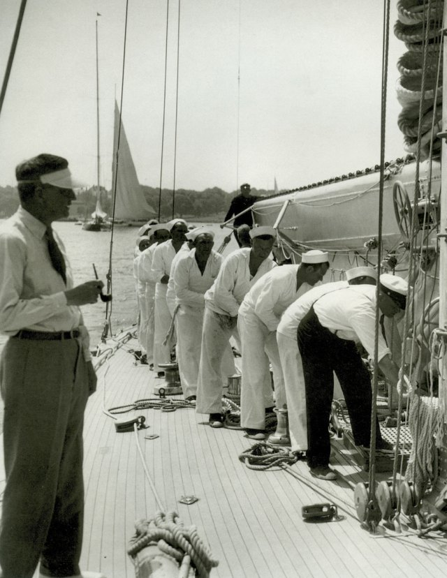"A team at work on board J-boat ""Ranger""."