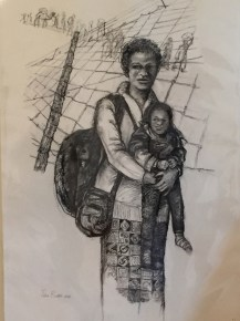 Etching of Refugee woman and child by Titia Ballot