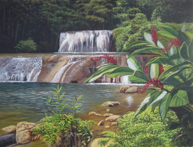 YS Falls painting - most beautiful places in Jamaica