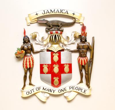 Out of many one people the motto of Jamaica Jamaican crest pictures of Jamaican crest