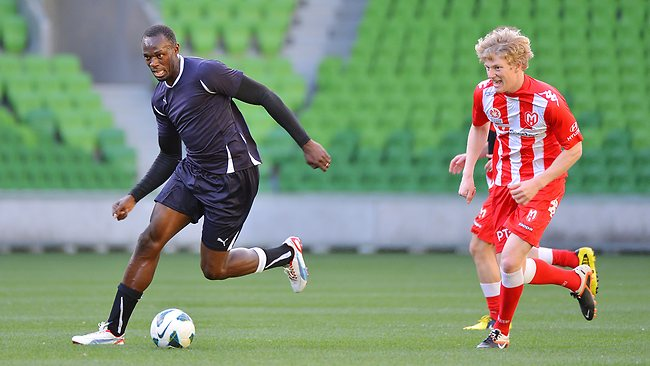 Usain Bolt play football for Jamaica reggae Boyz Manchester United