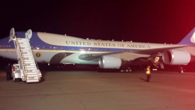 Air Force One in Jamaica on President Obama's first visit to Jamaica - Image via jamaicaobserver.com