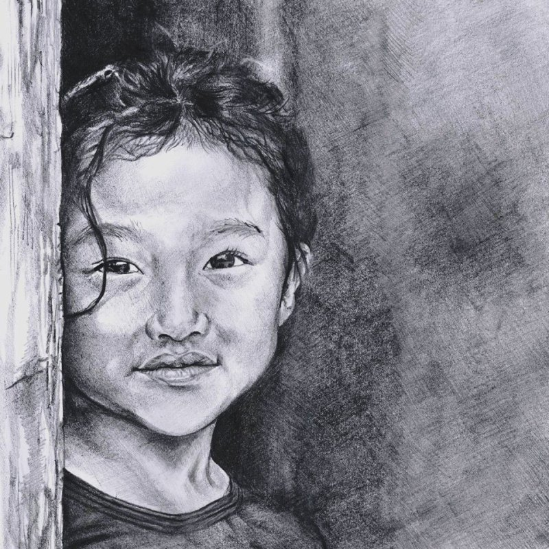 Young girl in graphite by Larnelle Francois