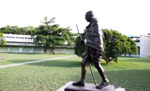 Bronze statue of Mahatma Gandhi at Inspiration Park at the University of the West Indies, Mona campus via jamaica-gleaner.com