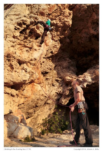Climbing in crucifix cave, near Naxxar
