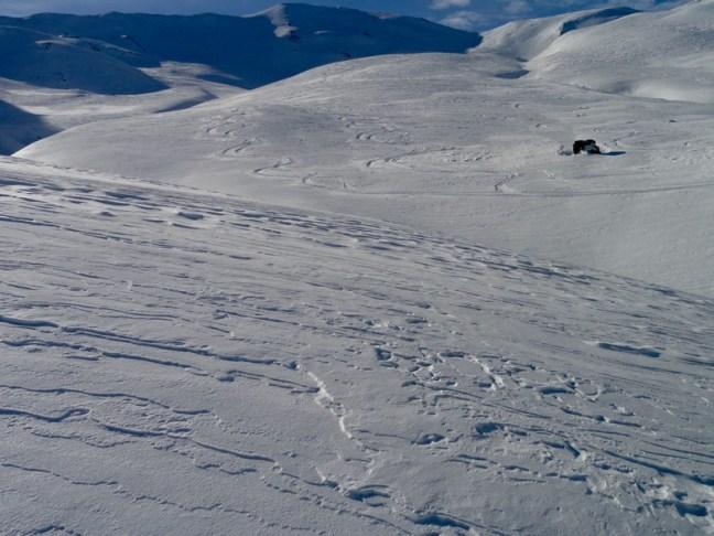 Nuestras huellas de bajada del Col de Astún