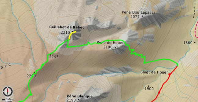 Mapa detalle aproximación y subida al Caillabet de Rebec