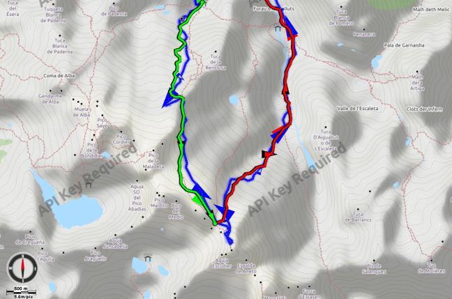 Mapa de detalle del tramo más alto del itinerario