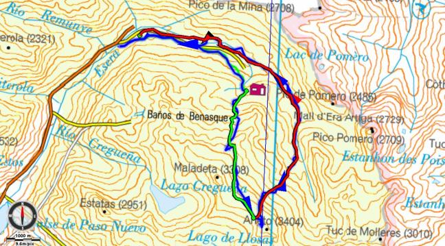 Mapa de la salida. En azul el itinerario ue queríamos hacer y nuestro track, en verde la subida y en rojo la bajada