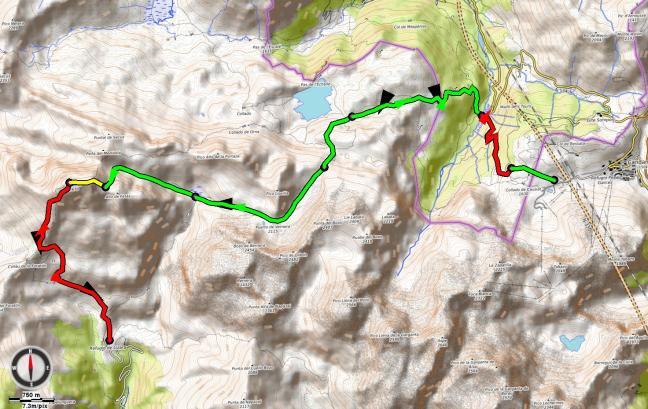 Mapa día 01: Candanchú - Bisaurín - Lizara