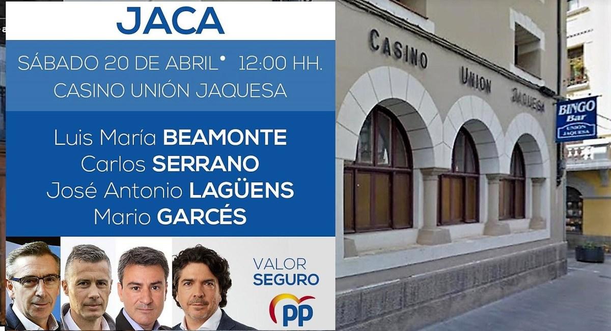Beamonte, Serrano, Lagüens y Garcés, juntos este sábado en Jaca en un acto electoral del PP