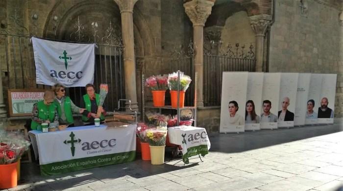 La AECC de Jaca prepara su tradicional venta de flores en la Plaza de la Catedral. Imagen de archivo. (FOTO: Rebeca Ruiz)