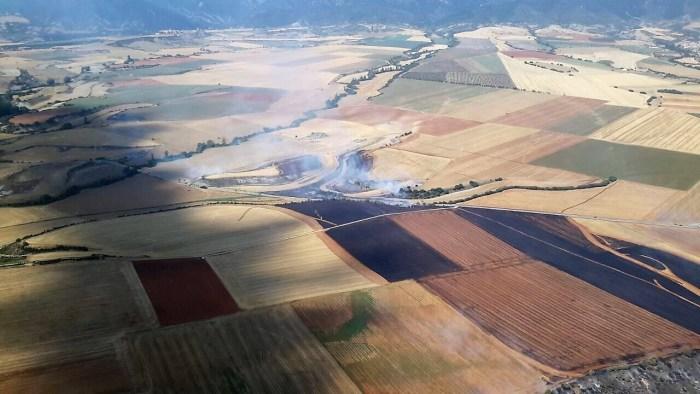 Imagen aérea de la zona afectada por el incendio cerca de Berdún. (FOTO: Gobierno de Aragón)