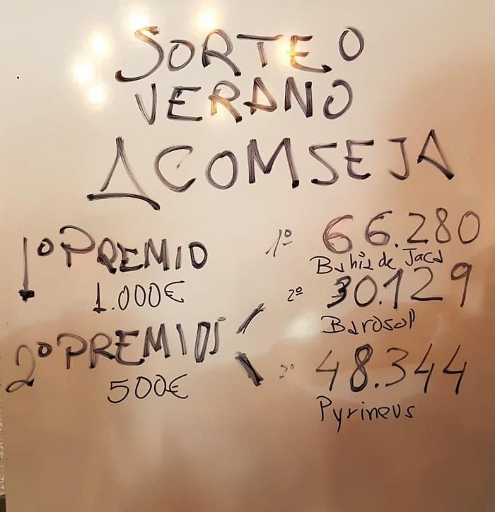 SORTEO DE VERANO DE ACOMSEJA. Números premiados. (FOTO: Rebeca Ruiz)