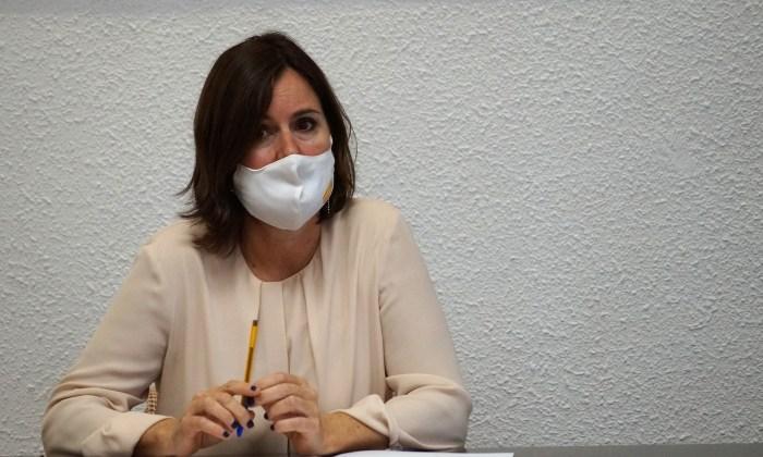 Elena Allué, durante el encuentro de la Mesa de la Nieve. (FOTO: Rebeca Ruiz)
