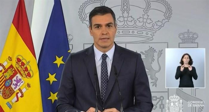 Pedro Sánchez, durante su comparecencia de este domingo, en la que ha anunciado la declaración del Estado de Alarma.