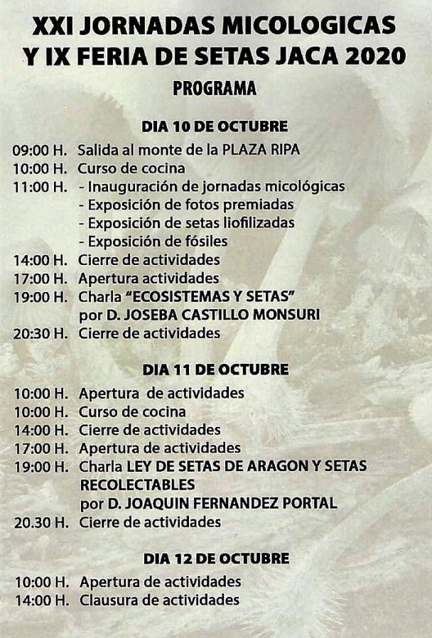 Programa de las Jornadas Micológicas y Feria de Setas 2020.