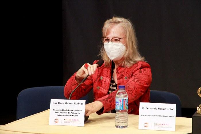 María Gómez, durante su intervención en Massamagrell. (FOTO: Kike Taberner)