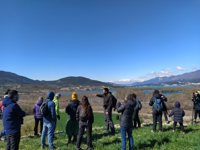 Avistamiento de aves. (FOTO: Organización de la II Fiesta de las grullas del Pirineo)