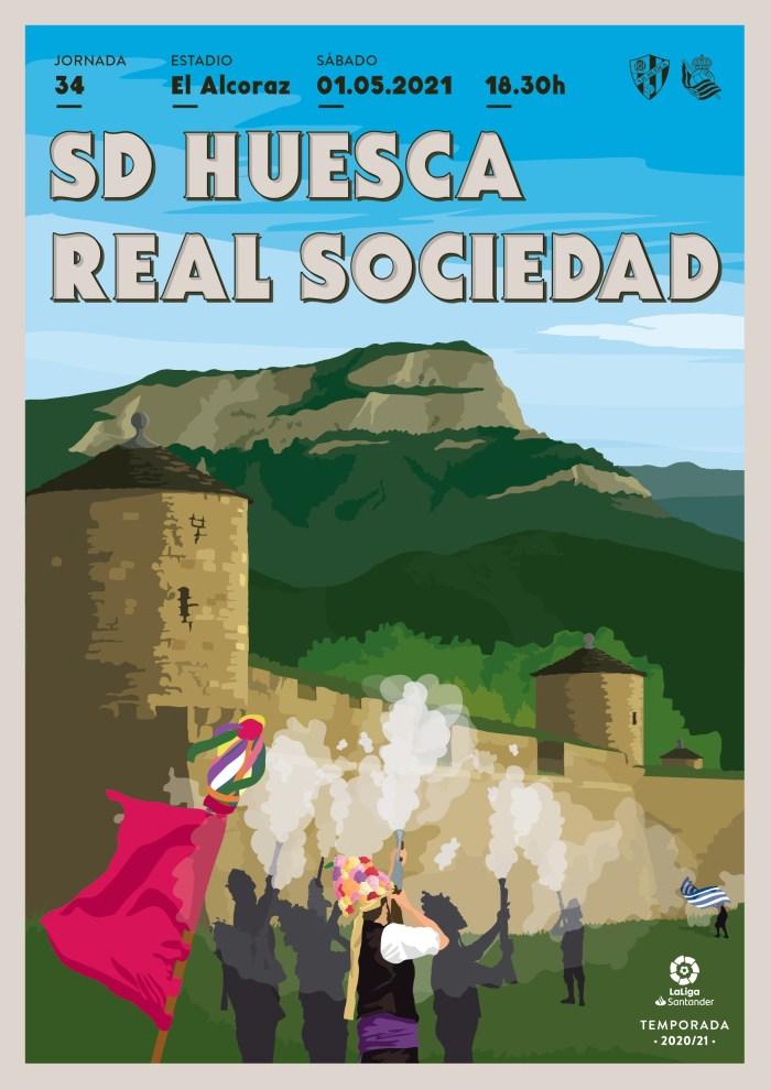 La Ciudadela, Oroel y el Primer Viernes de Mayo de Jaca, en el cartel del partido de la SD Huesca