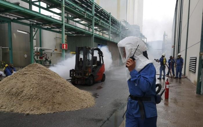 Simulacro de emergencia química en Sabiñánigo. (FOTO: Gobierno de Aragón)