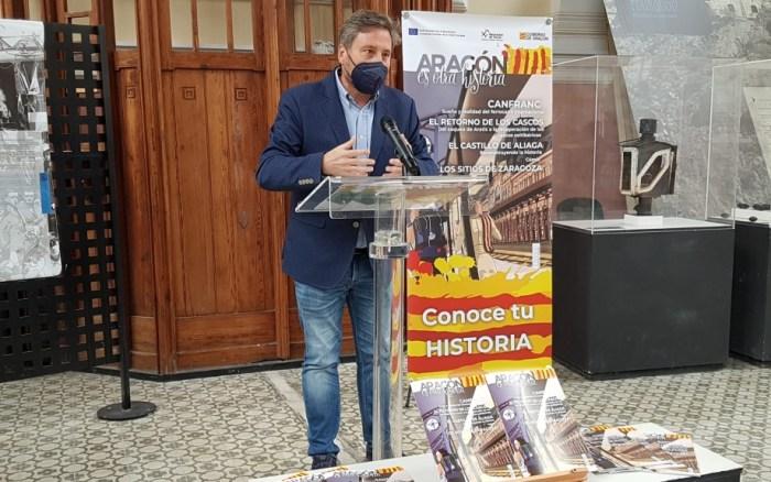 El consejero Soro, durante su intervención en la presentación de Aragón es otra historia. (FOTO: Gobierno de Aragón)