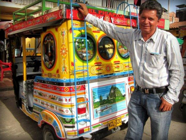 Colorful moto-chiva in Guatapé