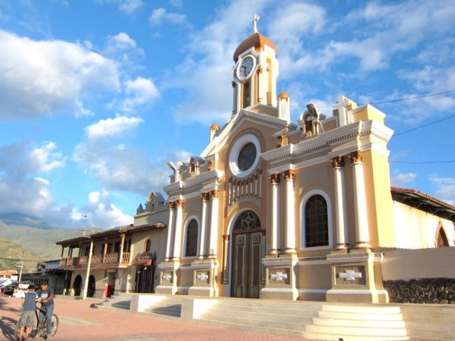 Handsome Vilcabamba main square and church