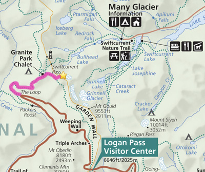 map of Grinnell Glacier Overlook