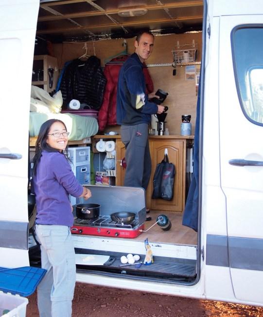 Our converted Sprinter van interior