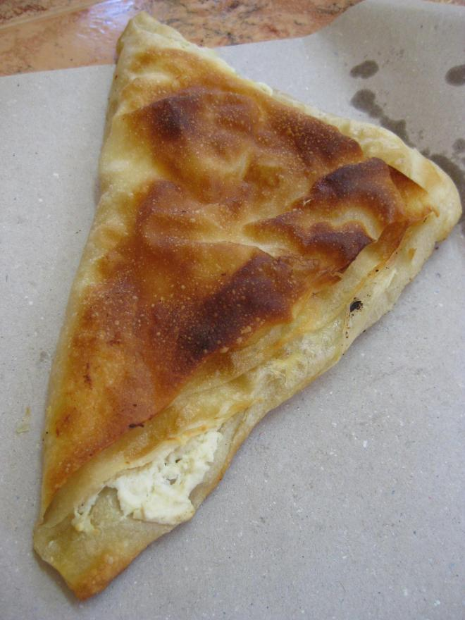 Banitsa - borek like pastry stuffed with cheese and eggs.