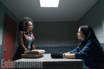 The Defenders (2017( From left to right, Simone Missick (Misty Knight) and Krysten Ritter (as Jessica Jones). Season 1, Episode 2