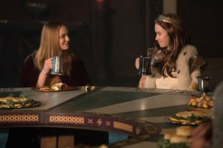 """DC's Legends of Tomorrow --""""Camelot/3000""""-- LGN212b_0357.jpg -- Pictured (L-R): Caity Lotz as Sara Lance/White Canary and Elyse Levesque as Guinevere -- Photo: Jack Rowand/The CW -- © 2017 The CW Network, LLC. All Rights Reserved"""