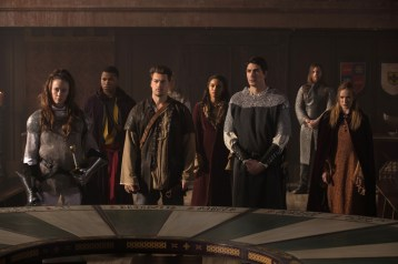 """DC's Legends of Tomorrow --""""Camelot/3000""""-- LGN212b_0193.jpg -- Pictured (L-R): Elyse Levesque as Guinevere, Franz Drameh as Jefferson """"Jax"""" Jackson, Nick Zano as Nate Heywood/Steel, Maisie Richardson- Sellers as Amaya Jiwe/Vixen, Brandon Routh as Ray Palmer/Atom and Caity Lotz as Sara Lance/White Canary -- Photo: Jack Rowand /The CW -- © 2017 The CW Network, LLC. All Rights Reserved"""