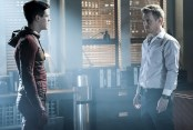 """The Flash -- """"Into the Speed Force"""" -- FLA316c_0218b.jpg -- Pictured (L-R): Grant Gustin as Barry Allen and Rick Cosnett as Detective Eddie Thawne -- Photo: Robert Falconer/The CW -- © 2017 The CW Network, LLC. All rights reserved."""