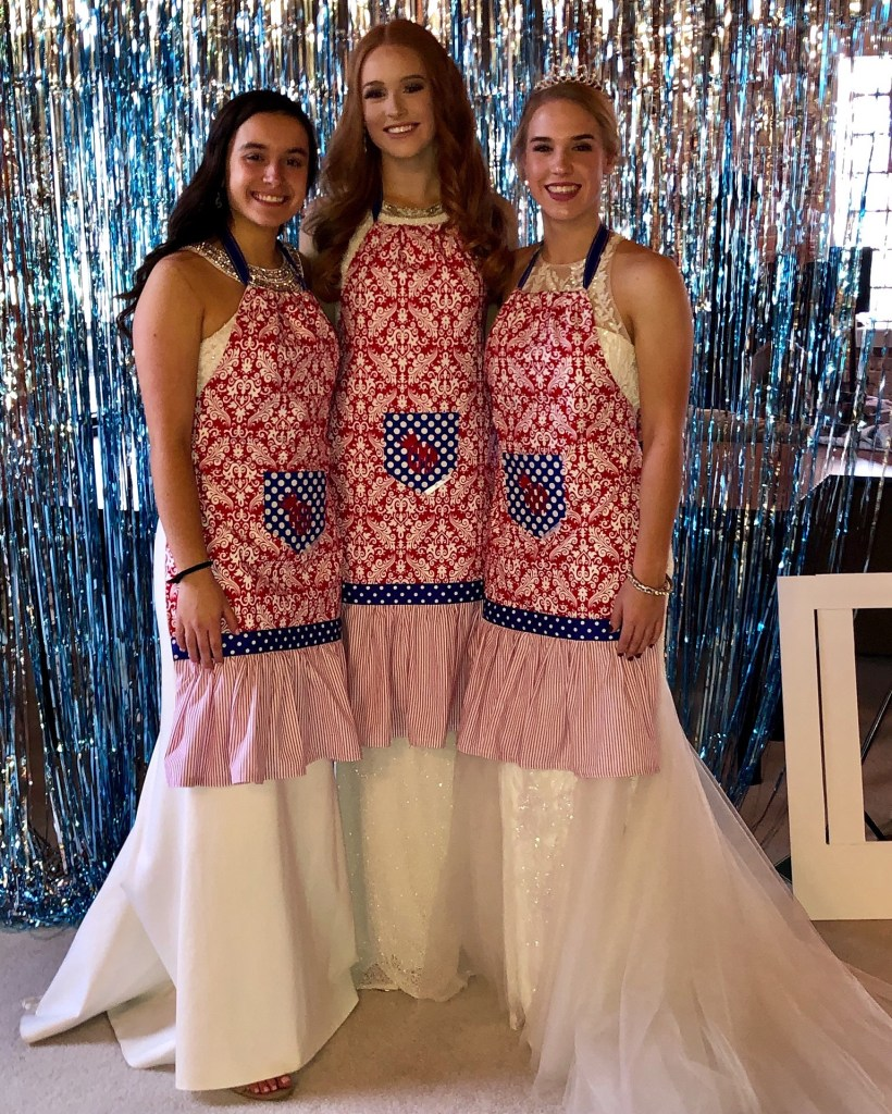 Aprons fit for a Queen! Abby, Clare & Katie