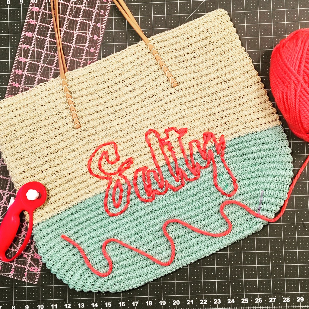 Hand Embroidered 'Salty' Beach Tote