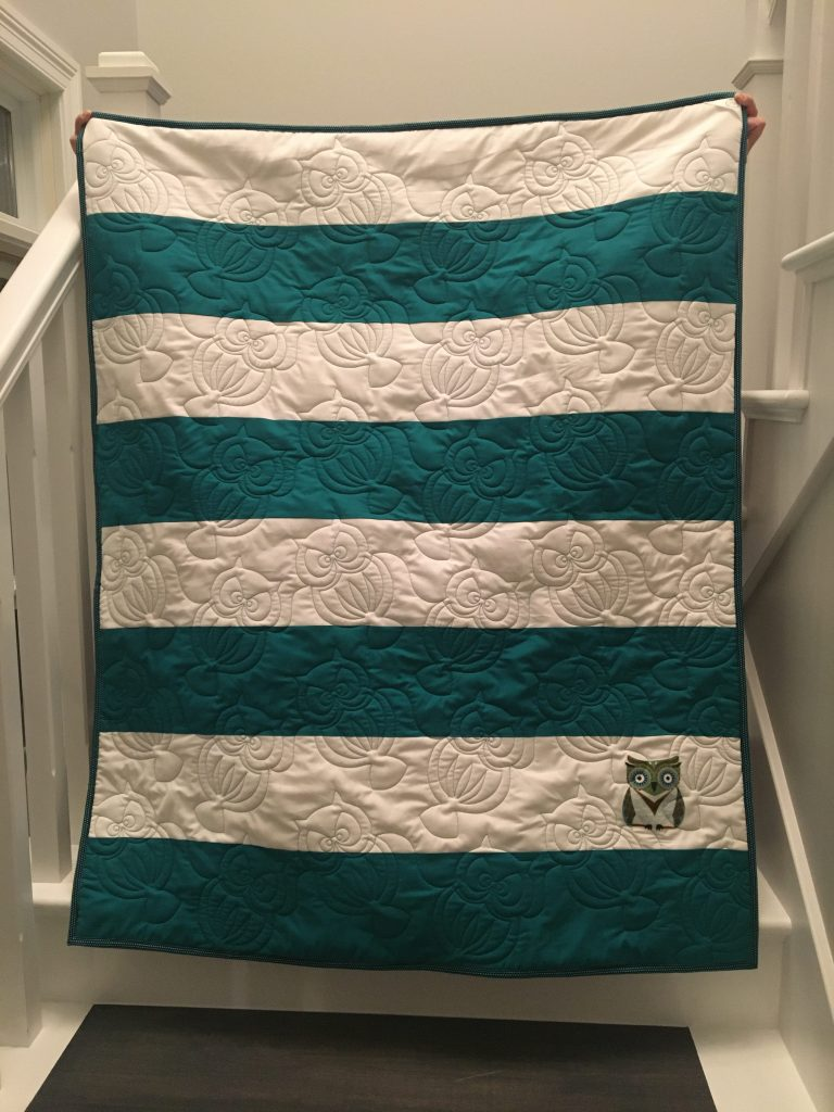 Oscar Owl Preppy Stripes Baby Quilt