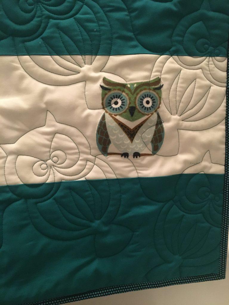 Oscar Owl panto - on Preppy Stripes quilt