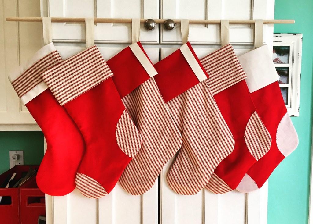 Ticking Stripe & Red Linen Stocking Set