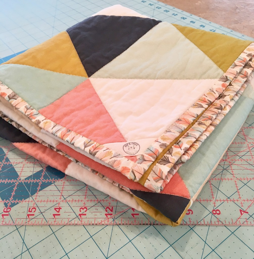 Triangle WholeCloth Baby Quilt