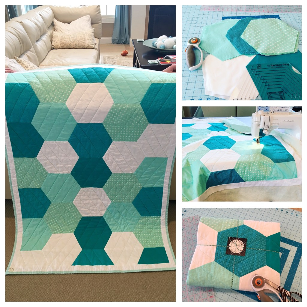 Watercolor Hexies Throw Quilt