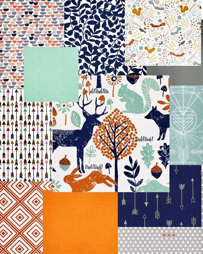 Wodland - navy orange - mint fabric bundle